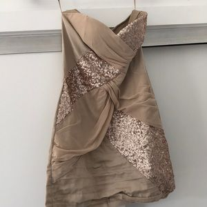 Strapless gold dress from ASOS (Elise Ryan)